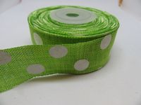 2 metres or Full Roll 25mm 38mm Leaf Green Vintage Hessian Large Polka Dot Ribbon 25 38 mm
